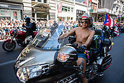 New York, NY - 30 June 2019. The New York City Heritage of Pride March filled Fifth Avenue for hours with participants from the LGBTQ community and it's supporters. Motorcycles led the march, driving  a Honda.