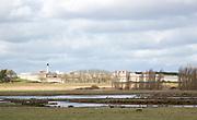 Wetland marshes landscape next to HMP Warren Hill prison, Hollesley Bay, Suffolk, England, UK