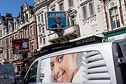 The face on a delivery van coincides with the billboard for the West End theatre production of Jamie at the Apollo Theatre on Shaftesbury Avenue, on 5th September 2019, in London, England.