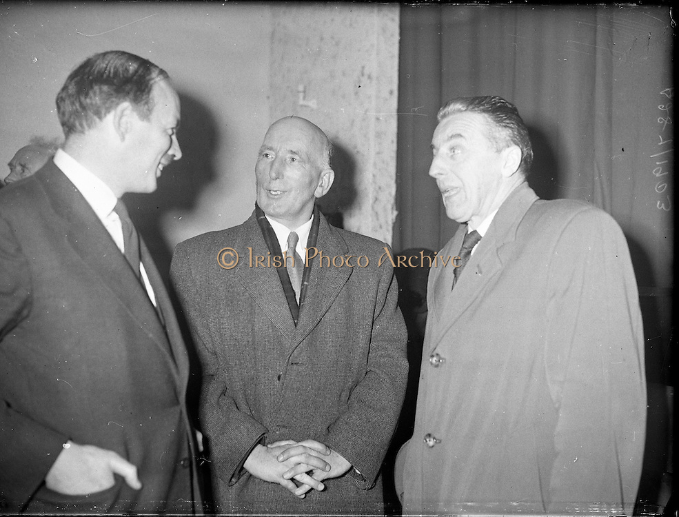 """Showing of Mise Eire at Gweedore, Co. Donegal..1960..27.01.1960..01.27.1960..27th January 1960...Photographed at Gweedore, Co Donegal at the first public showing of the Gael Linn film """"Mise Eire"""" were from left Mr Donal O'Morain,Cathaoirleach, Gael Linn, Mr Gearoid O'Partholain, Aire na Gaeltachta and Cormac O'Breasleain TD, Leas Ceann Comhairle"""