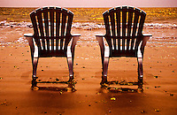 Two beach chairs by the Pacific Ocean, beach at Bucerias mexico