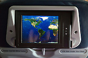 Airplane progress viewed on video map mounted on back of seat. Minneapolis Minnesota MN USA