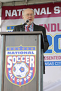 10 October 2013: 2013 Colin Jose Media Award recipient George Vecsey. The 2013 National Soccer Hall of Fame Induction Ceremony was held on the West Plaza outside Sporting Park in Kansas City, Kansas.