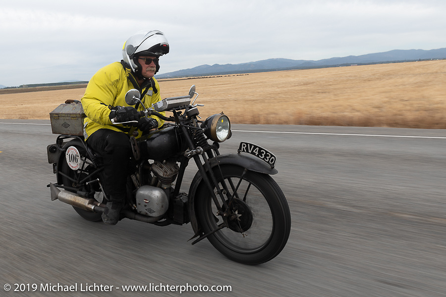 Bryan Bossier riding his 1925 Brough Superior model SS80 on the Motorcycle Cannonball coast to coast vintage run. Stage 13 (254 miles) Kalispell, MT to Spokane, WA. Friday September 21, 2018. Photography ©2018 Michael Lichter.