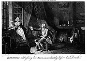 Jean Jacques Rousseau (1712-1778) French Enlightenment philosopher and educationalist, reaching to the light and speaking to his wife just before his death. Engraving