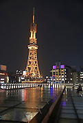 Japan, Nagoya TV Tower at Hisaya-Odori park at night water rooftop garden in the foreground