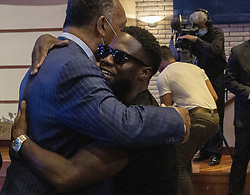 Jesse Jackson, left, embraces Kevin Hart before a memorial service for George Floyd at North Central University in Minneapolis on Wenesday, June 4, 2020. Photo by Carlos Gonzalez/Minneapolis Star Tribune/TNS/ABACAPRESS.COM