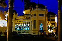 Indonesia, Sumatra. Medan. The Great Mosque (Masjid Raya) of Medan built in 1906 in Moroccan style. After dark.