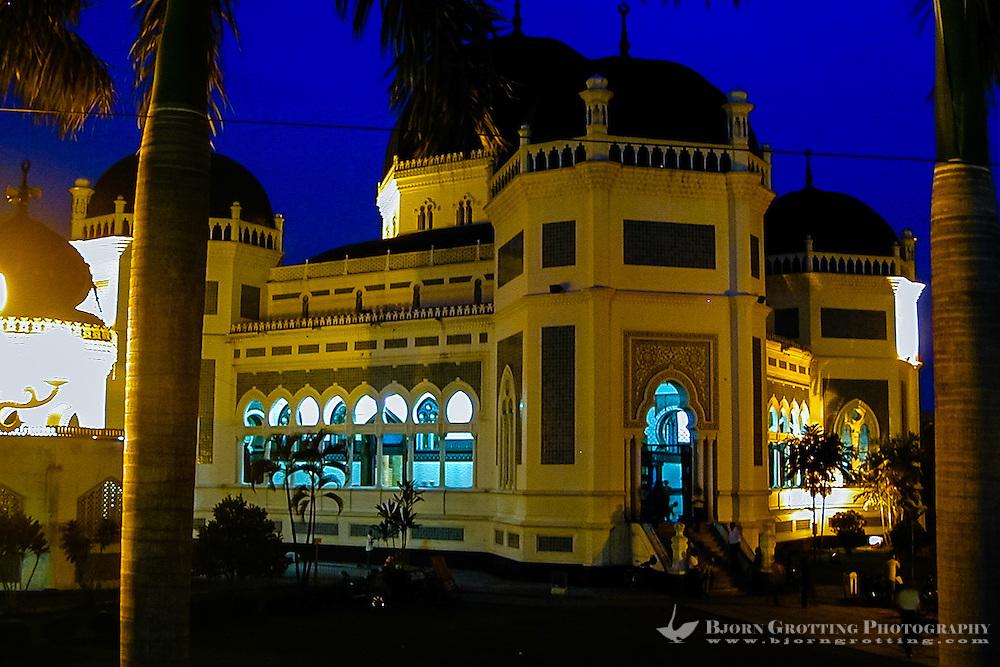 Indonesia, Sumatra. Medan. The Great Mosque (Masjid Raya) of Medan built in 1906 in Moroccan style. After dark.
