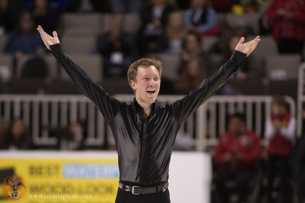 January 4, 2018; San Jose, CA, USA; Ross Miner in the mens short program during the 2018 U.S. Figure Skating Championships at SAP Center.