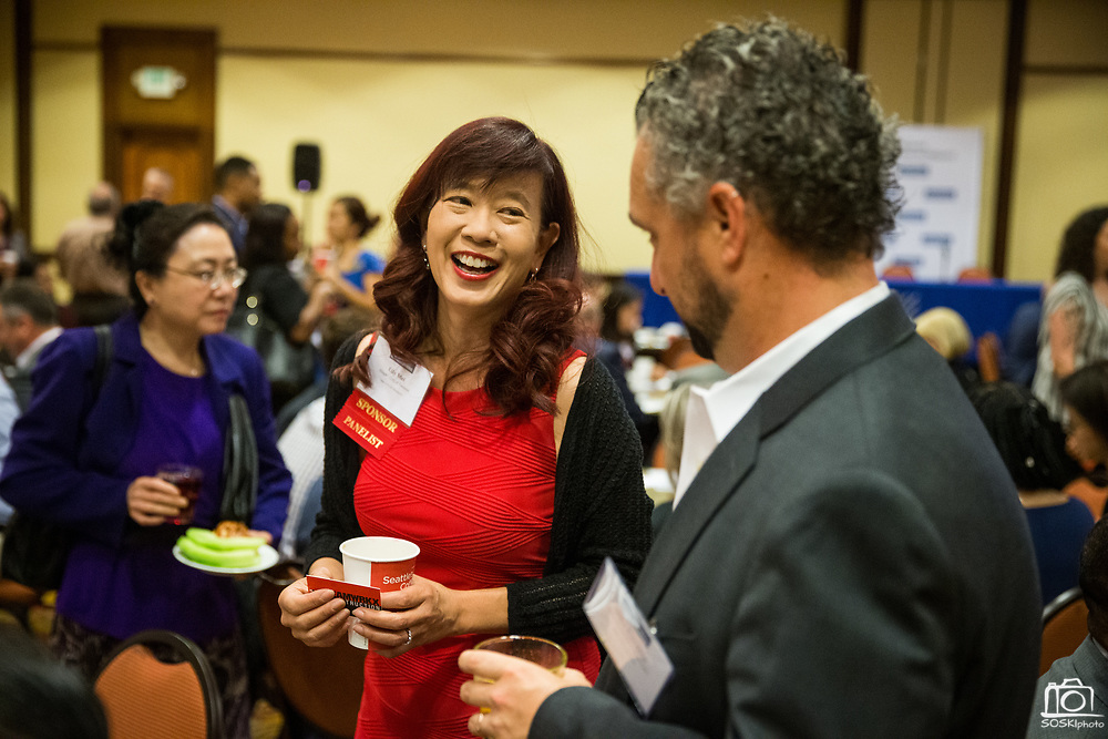 Lily Mei, City of Fremont Mayor, socializes during the Silicon Valley Business Journal's Future of Fremont event at Fremont Marriott Silicon Valley in Fremont, California, on June 18, 2019.  (Stan Olszewski for Silicon Valley Business Journal)