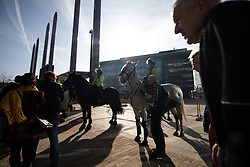 "© Licensed to London News Pictures . 23/02/2019. Salford, UK. Mounted police in front of the BBC at Media City . Supporters of Tommy Robinson (real name Stephen Yaxley-Lennon ) and anti-fascists opposed to the former EDL leader and his followers , gather near to the BBC at Media City to protest , as Yaxley-Lennon hosts a rally showing a home-made documentary , "" Panodrama "" , described as an exposé of the BBC's Panorama documentary series . A BBC Panorama documentary is due to feature an investigation in to Yaxley-Lennon in the near future . Photo credit: Joel Goodman/LNP"