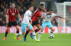 Joshua King of Bournemouth battle for the ball with Manuel Lanzini of West Ham United - Mandatory by-line: Alex James/JMP - 11/03/2017 - FOOTBALL - Vitality Stadium - Bournemouth, England - Bournemouth v West Ham United - Premier League
