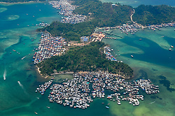 Floating villages are pictured around the Gaya Island, on August 5, 2019 near Kota Kinabalu city, State of Sabah, North of Borneo Island, Malaysia. Photo by Emy/ABACAPRESS.COM