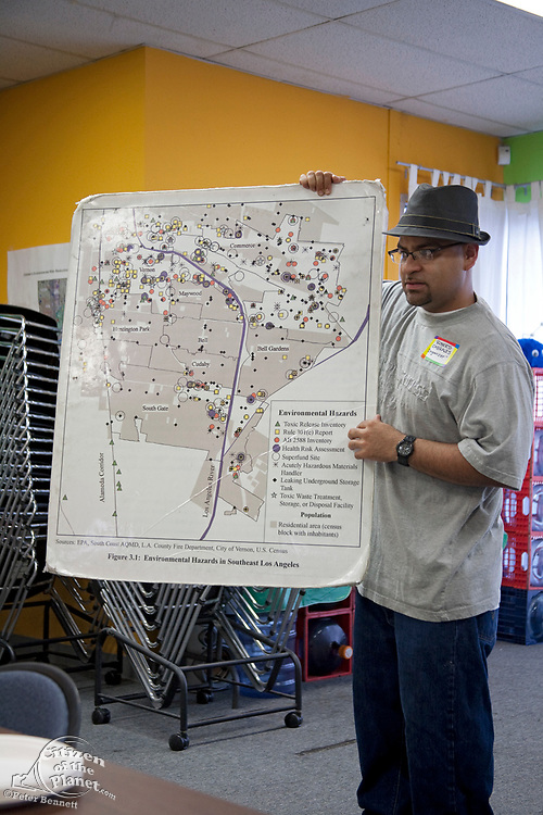 Roberto Cabrales talks  about toxic sites at CBE headquarters at beginning of Toxic Tour. CBE (Communities for a Better Environement) Toxic Tour takes attendees through various toxic sites in and around Los Angeles, Huntington Park, Los Angeles, California, USA