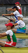 2005 FISA Rowing World Cup Munich, GERMANY. 17.06.2005;.BUL W2X Bow Rumyana Neykova and Miglena Markova, move away from the start, in their morning heat, on the opening day of the regatta. Photo Peter Spurrier.email images@intersport-images...[Mandatory Credit Peter Spurrier/ Intersport Images] Rowing Course, Olympic Regatta Rowing Course, Munich, GERMANY