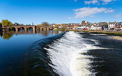 View of weir in River Nith in Dumfries in Dumfries and  Galloway, Scotland, UK