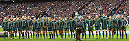 The Australian team sings the national anthem in this stitched panorama shot during the Investec series international between England and Australia at Twickenham, London, on Saturday 13th November 2010. (Photo by Andrew Tobin/SLIK images)