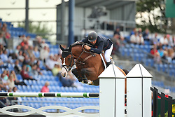 Clee Joe, (GBR), Utamaro D Ecaussines<br /> Team Competition round 1 and Individual Competition round 1<br /> FEI European Championships - Aachen 2015<br /> © Hippo Foto - Stefan Lafrentz<br /> 19/08/15