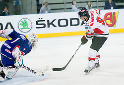 Stephen Murphy of Great Britain vs Raphael Herburger of Austria during ice-hockey match between Austria and Great Britain at IIHF World Championship DIV. I Group A Slovenia 2012, on April 16, 2012 in Arena Stozice, Ljubljana, Slovenia. Austria defeated Great Britain 6-3. (Photo by Vid Ponikvar / Sportida.com)