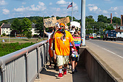 Matthew leads a group of demonstrators onto the bridge over the Susquehanna River during the Milton Pride Rally Milton, Pennsylvania on August 8, 2020. The I Am Alliance organized the event to show support for the LGBTQ community. (Photo by Paul Weaver)