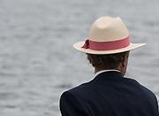 """Henley on Thames. United Kingdom. """"Hats at Henley""""  George LAWSON, [Ex HRR Press Officer] Leander Hat and Blazer.<br /> Sunday  03/07/2016      <br /> <br /> 2016 Henley Royal Regatta, Henley Reach.   <br /> © Peter SPURRIER,<br /> NIKON CORPORATION  NIKON D500  f9  1/1600sec  750mm  5.9MB"""