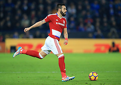 """Middlesbrough's Alvaro Negredo during the Premier League match at the King Power Stadium, Leicester. PRESS ASSOCIATION Photo. Picture date: Saturday November 26, 2016. See PA story SOCCER Leicester. Photo credit should read: Nigel French/PA Wire. RESTRICTIONS: EDITORIAL USE ONLY No use with unauthorised audio, video, data, fixture lists, club/league logos or """"live"""" services. Online in-match use limited to 75 images, no video emulation. No use in betting, games or single club/league/player publications."""
