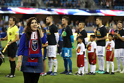 September 19, 2018 - San Jose, California, United States - San Jose, CA - Wednesday September 19, 2018: National anthem during a Major League Soccer (MLS) match between the San Jose Earthquakes and Atlanta United FC at Avaya Stadium. (Credit Image: © Bob Drebin/ISIPhotos via ZUMA Wire)