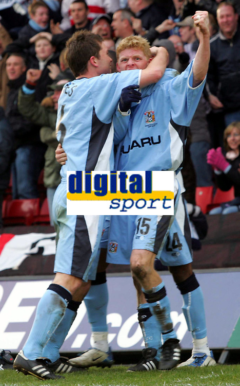Photo:  Frances Leader.<br /> Watford v Coventry City. Coca Cola Championship. <br /> Vicarage Road Stadium<br /> 05/03/2005<br /> Coventry Claus Jorgensen celebrates his goal against Watford.