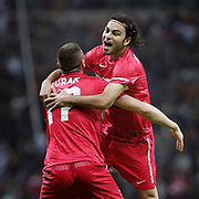 Turkey's Burak YILMAZ celebrate his goal with team mate during their UEFA EURO 2012 Qualifying round Group A soccer match Turkey betwen Azerbaijan at TT Arena in Istanbul October 11, 2011. Photo by TURKPIX