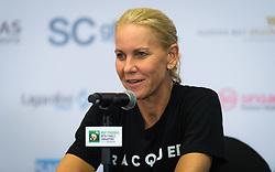 October 22, 2018 - Kallang, SINGAPORE - Rennae Stubbs, coach of Karolina Pliskova, talks to the media at the 2018 WTA Finals tennis tournament (Credit Image: © AFP7 via ZUMA Wire)