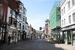 File photo dated 24/3/2020 of an empty high-street in Guildford the day after Prime Minister Boris Johnson put the UK in lockdown to help curb the spread of the coronavirus. Britain's high street retailers suffered their worst month on record in March as they were hammered by the Covid-19 lockdown, according to new figures.
