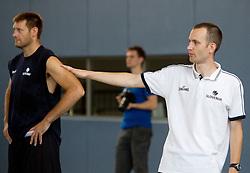 Goran Jagodnik and Gasper Potocnik, assistant coach during media day at training camp of Slovenian National Basketball team for Eurobasket Lithuania 2011, on July 19, 2011, in Arena Ljudski vrt, Ptuj, Slovenia.  (Photo by Vid Ponikvar / Sportida)