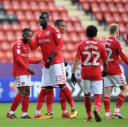 Charlton Athletic's Mark Marshall (left) celebrates their second goal with team mates