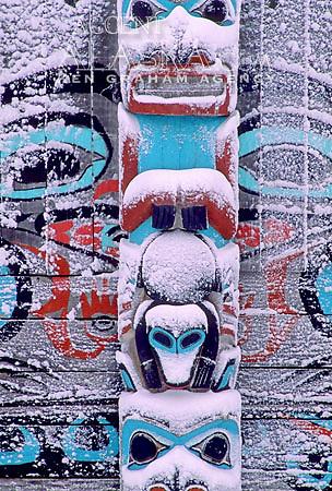 Alaska. Haines. Fort Seward. Tlingit Park. Detail of snow covered totem.