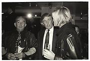 Robin Leach, Donald Trump, Harley Davidson Cafe opening. Manhattan. 1993.