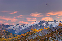 Moon over peaks of the Truce Group from Monica Meadows, Purcell Mountains British Columbia Canada