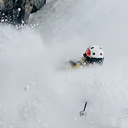 Tanner Flanagan makes powder turns in the Tower Three Chutes area of JHMR.