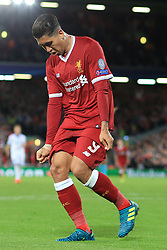 23rd August 2017 - UEFA Champions League - Play-Off (2nd Leg) - Liverpool v 1899 Hoffenheim - Roberto Firmino of Liverpool pulls his shorts down as he celebrates after scoring their 4th goal - Photo: Simon Stacpoole / Offside.