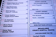08 OCTOBER 20202 - DES MOINES, IOWA: Kanye West's name appears on a Polk County, Iowa mail-in absentee ballot. PHOTO BY JACK KURTZ