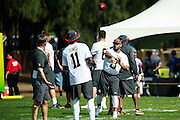 January 30 2016: Seattle Seahawks Russell Wilsonwarms up before the final Pro Bowl practice at Turtle Bay Resort on Oahu, HI. (Photo by Aric Becker/Icon Sportswire)