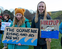 Edinburgh, Scotland, UK. 29th November 2019. Young protestors gathered outside the Scottish Parliament building in Holyrood, Edinburgh to mark Global Climate Action Day. Similar protests occurred in many European cities. Iain Masterton/Alamy Live News.