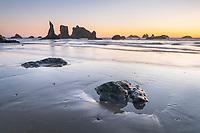 Twilight over Bandon Beach at low tide, Bandon, Oregon