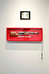 02 October 2014. Jonathan Ferrara Gallery, New Orleans, Louisiana. <br /> Jonathan Ferrara Gallery. 'Guns In The Hands Of Artists' A piece by the artist Dan Tague. The show brings together over 30 internationally acclaimed artists who took parts from 190 destroyed weapons acquired by the New Orleans Police department  and converted them into art.  <br /> Photo; Charlie Varley/varleypix.com