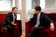 L-R: China Securities Regulatory Commission Vice-Chairman Yao Gang, and Shanghai Municipal Government Financial Services Director-General Fang Xinghai, before Shanghai / Paris Europlace Financial Forum, in Shanghai, China, on December 1, 2010. Photo by Lucas Schifres/Pictobank