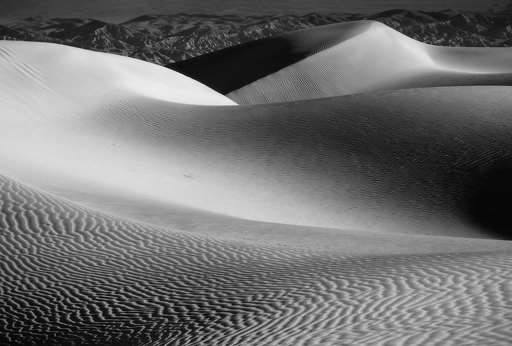 Abstract dune patterns in black and white, Mesquite Dunes, Death Valley National Park, California, USA