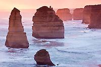 Stunning winter sunset over the beautiful Shipwreck Coast on the Great Ocean Road, Victoria, Australia.