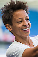 Sarah Gregorius (New Zealand) winning goal scorer thanking supporters following the FIFA Women's World Cup UEFA warm up match between England Women and New Zealand Women at the American Express Community Stadium, Brighton and Hove, England on 1 June 2019.