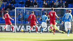 St Johnstone's Danny Swanson misses a chance. St Johnstone 1 v 2 Aberdeen. SPFL Ladbrokes Premiership game played 15/4/2017 at St Johnstone's home ground, McDiarmid Park.