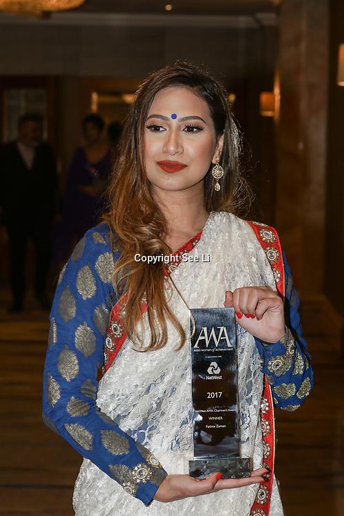 London, UK. 10th May 2017. Netwest AWA Chairman's awards to Fatima Zaman at The Asian Women of Achievement Awards 2017 at the London Hilton on Park Lane Hotel. Photo by See li